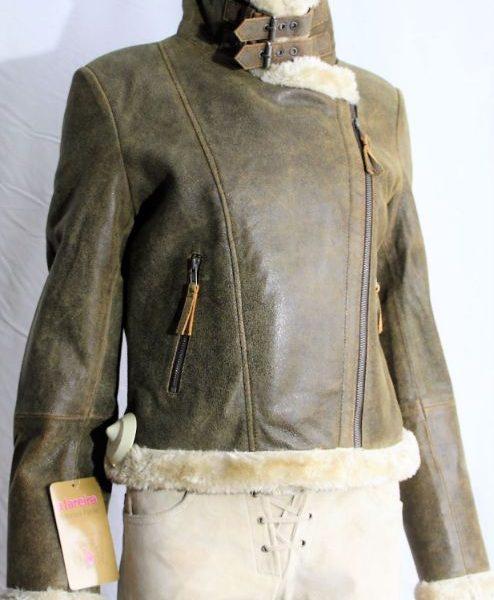 Blusão aviador de trespasse feminino em pele verdadeira castanho envelhecido